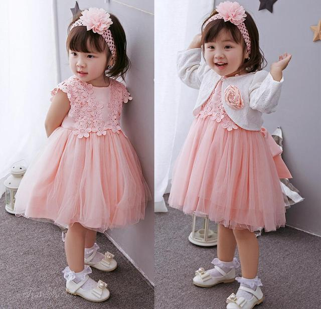 665e63cd973 3PCs set Pink Bowknots Lace Flowers Baby Girl Christening Dress Princess  Wedding Party Newborn Baptism Gown Headband Mini Coat