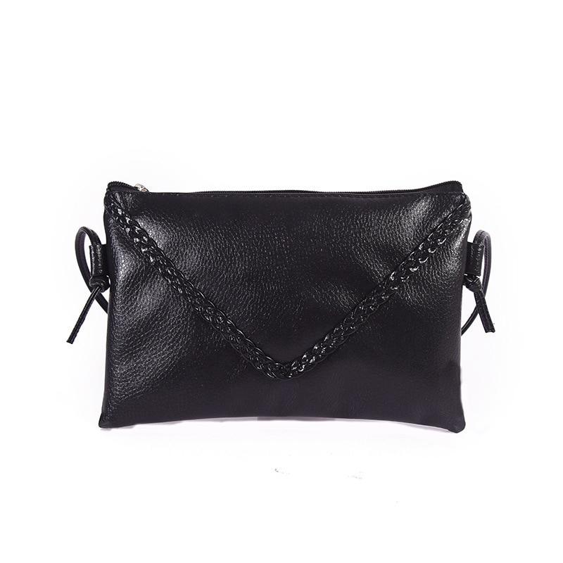 New Women Small Double Zipper Envelope Handbag All match Black Sliver Color Chain Clutch Ladies Bags