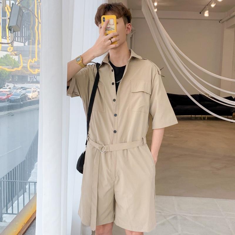 Jumpsuit Men Summer Men's Half Sleeve Belt Pockets Jumpsuit Hip Hop Man Streetwear Pants Harajuku Short Overalls Men X9113