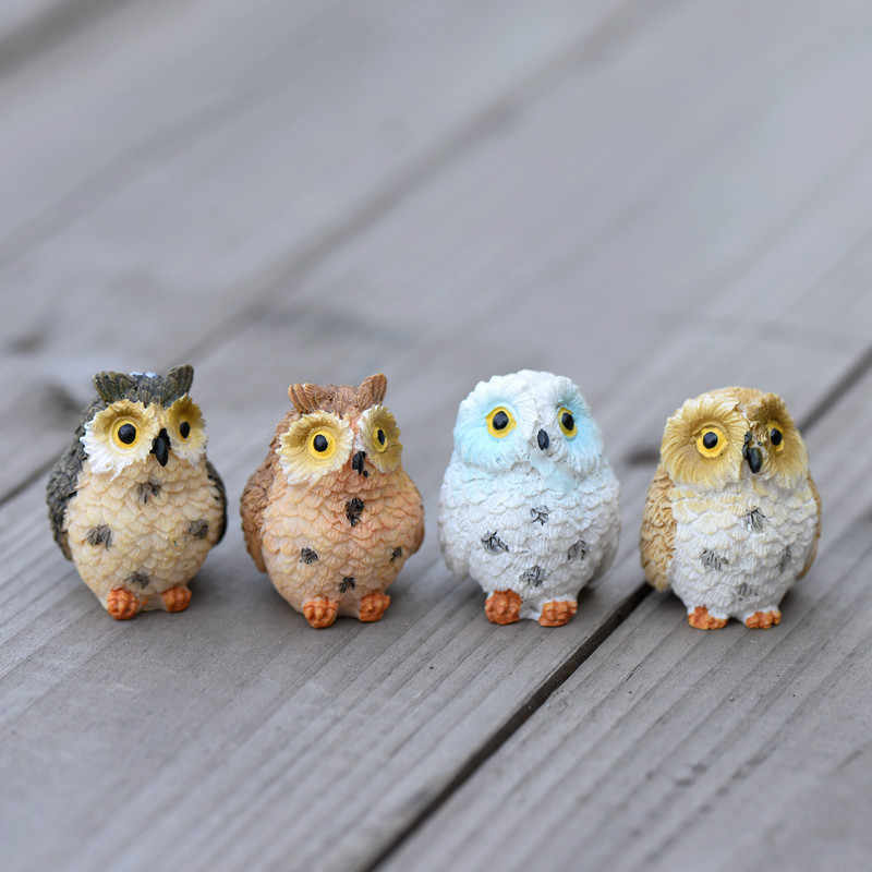 1/2/4PCS Cute Owls Animal Figurines Resin Miniatures Figurine Craft Bonsai Pots Home Fairy Garden Ornament Decoration Terrarium