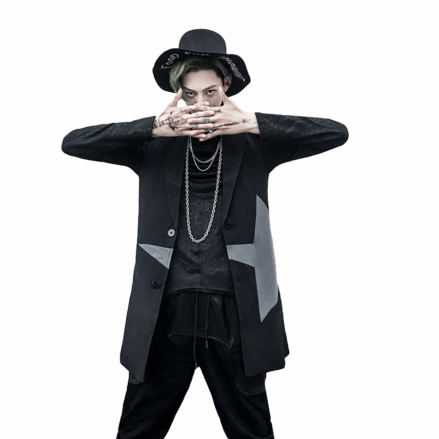 Trench Long homme noir Slim gothique veste Punk gothique hommes Vintage coupe-vent chevrons Abrigo Hombre manteau Trenchcoat F8