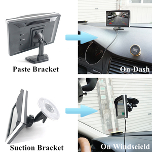 Image 2 - Gspscn駐車場支援 5 インチリアビューモニター車反転バックミラーバックアップカメラled赤外線ゴムカップ + ブラケット