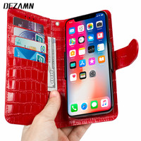 Business Genuine Leather Crocodile Wallet Case For iPhone X XS XR Xs Max 6.5 inch Flip Cover Samsung Galaxy S8 S9 Plus Note 8 9