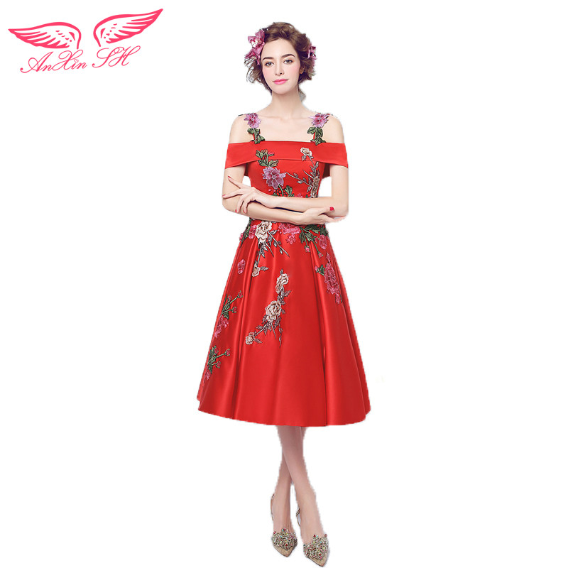 AnXin SH Red flowers prom dress Slim word shoulder short paragraph bride red prom dress new 3306