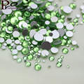 Light green color1000PCS SS3 to SS16 non hotfix rhinestone 3D Nail Art Decorations Flatback Rhinestones