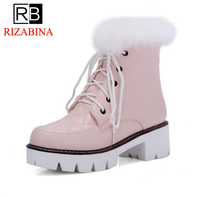 56a79b0f95 RizaBina Size 33-43 Women High Heel Boots Half Short Snow Boots Thick Fur  Shoes In Cold Winter Botas Warm Boots Women Footwear