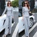 (Jaqueta + Calça) 2 Peça Das Senhoras Desgaste Do Escritório Terno Cinza Rosa Conjuntos Com Calças Das Mulheres de Negócios Ternos Formais Pant Para As Mulheres