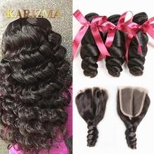 닫힌 중간 부분이있는 Karizma Brazilian Hair Weave Bundle Closure Non Remy 인간의 머리카락이있는 브라질 느슨한 웨이브 3 번들