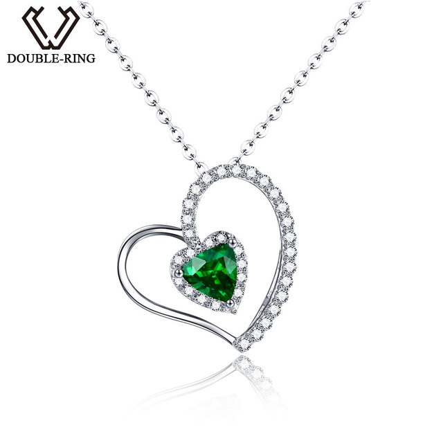 Double r classic created emerald pendants solid 925 sterling silver double r classic created emerald pendants solid 925 sterling silver heart necklaces for women sterling aloadofball Images