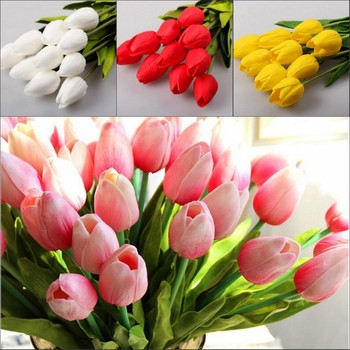 100 Pcs/lot Tulip Artificial Flowers Wholesale Real Touch PU Artificial Bouquet Flowers For Home Gift Wedding Decorative Flower