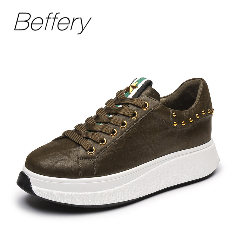 Beffery Spring Genuine Leather Women Casual Shoes Black Platform Wedge Heels Fashion Casual Flat Shoes Women Creepers Sneakers beffery 2018 new fashion sneakers women genuine leather lace up flat platform shoes for women fashion star casual shoes a1md701