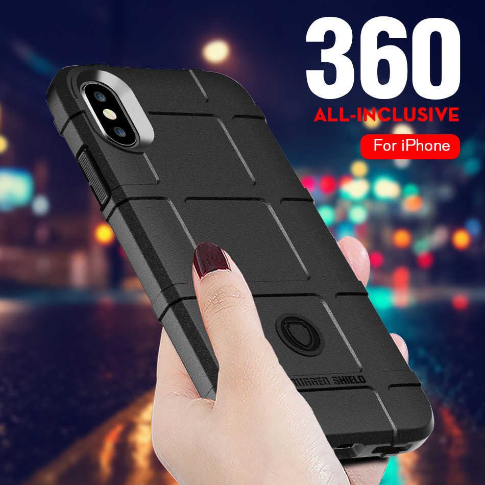 ケースのための iphone XS 最大 iphone 7 8 プラスケース用シリコーンソフトマットカバーのための iphone 6 6 S X XS XR ケース 360 頑丈な Coque