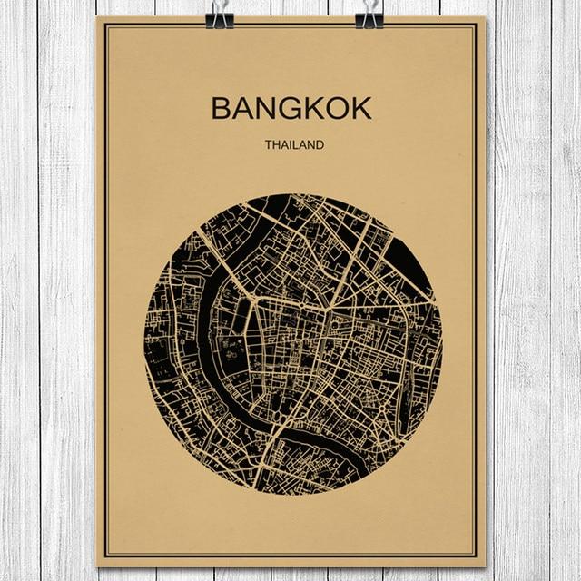 Bangkok Classic World City Map Vintage Poster Kraft Paper Poster ...