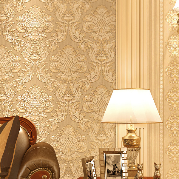 Bacaz 3d Papel de parede Embossed Flocking 3D Damask wallpaper roll for Living Room 3d wall paper Rolls wallcoverings 3d bookshelf wallpaper rolls for study room of american vintage chinese style background 3d wall paper papel de parede