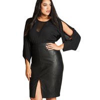 XXXL 4XL 5XL 6XL Long Sleeve Cold Shoulder Blouses Women Black See Through Mesh Oversize Tops