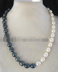 """Image 1 - Gros perle deau douce blanc oeuf noir 9 10mm collier 19 """"perles nature"""