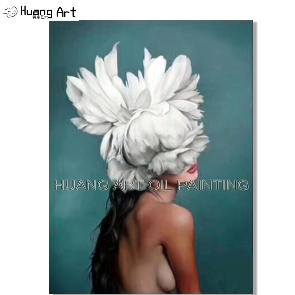 Artist Handmade High Quality Impressionist Creative Portrait Oil Painting on Canvas Beautiful Women Head with White Flower Art