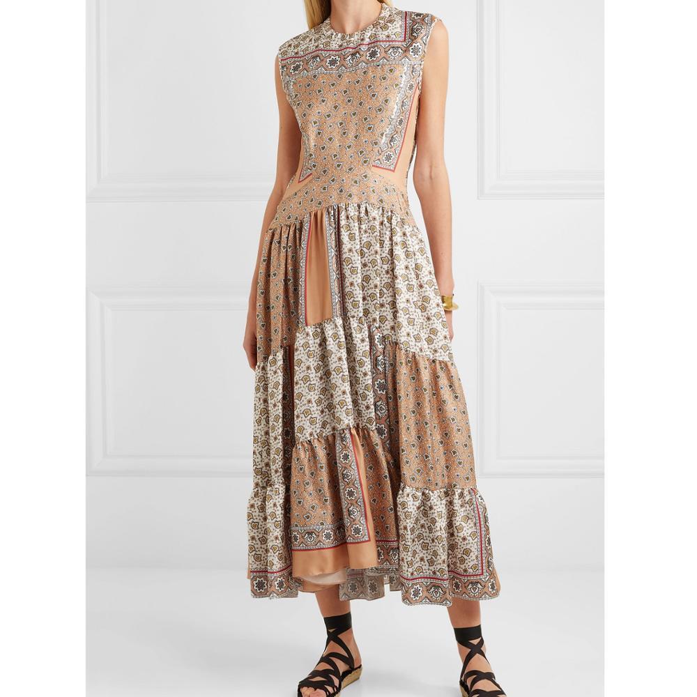 Femmes été plage bohème longue robe de haute qualité sans manches col rond longue robe imprimée soie twill robe-in Robes from Mode Femme et Accessoires    1