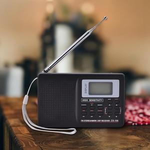 Image 5 - كامل الفرقة AM/SW/LW/TV/FM راديو الصوت استقبال التردد الكامل استقبال راديو FM مع توقيت ساعة تنبيه راديو محمول أسود