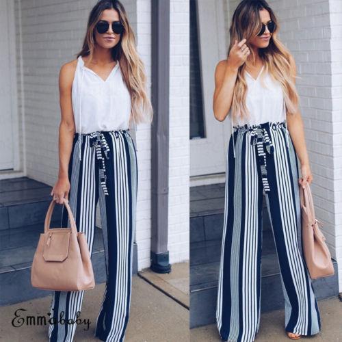 d9cff0ece7af 2018 Fashion Summer Wide Leg Pants Women High Waist Blue Striped Loose  Palazzo Pants Elegant Office Ladies Trousers