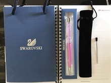New 2017 Swarovski crystal pen Ballpoint pen with brand logo box gift bag Velvet bag refill crystals Pen(China)