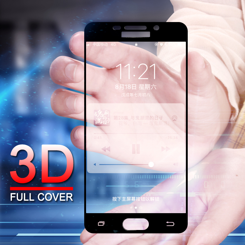 Galleria fotografica 9H 3D Full Cover Tempered Glass For Samsung Galaxy S7 A3 A5 A7 J3 J5 J7 2016 2017 A310 A510 Screen Protector Film Glass Case