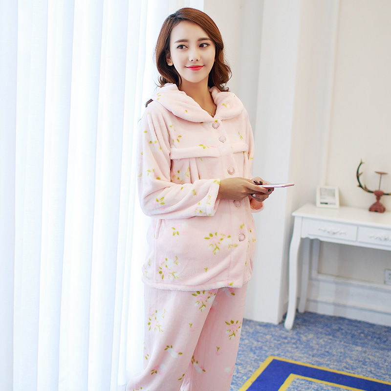 Winter Maternity Pajamas Home Clothes Sets Sleepwear for Pregnant Women Clothing Postpartum Nightgown G314