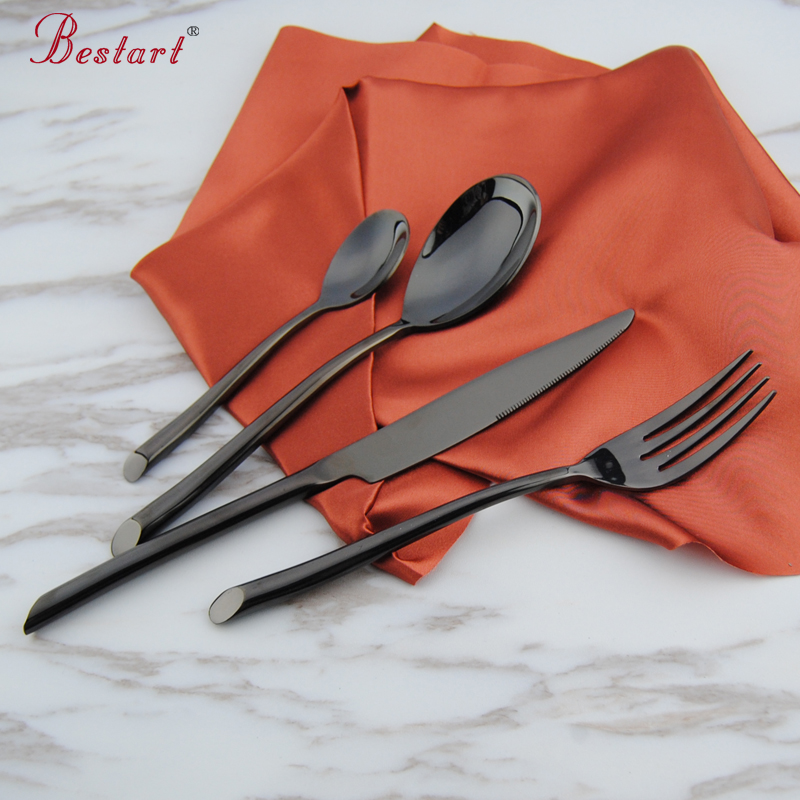 1lot 24 pcs luxury black plated dinnerware sets good polish table knife dinner fork spoon tea