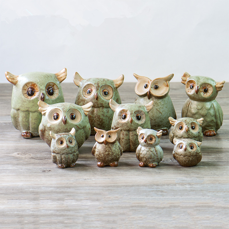 High Quality AIBEI ZAKKA Japan Style Ceramic Owl Figurines 1PC Handmade Porcelain Animal  Statuettes Home Decoration Gifts Crafts