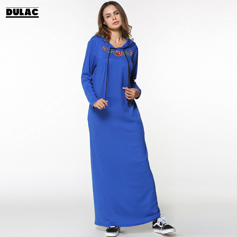 2018 Spring Autumn Middle East Women Fashion Knitted Long Sleeve Hooded Female Robe Print Embroidery Casual Loose Muslim Dress rights of sri lankan women migrant workers in middle east