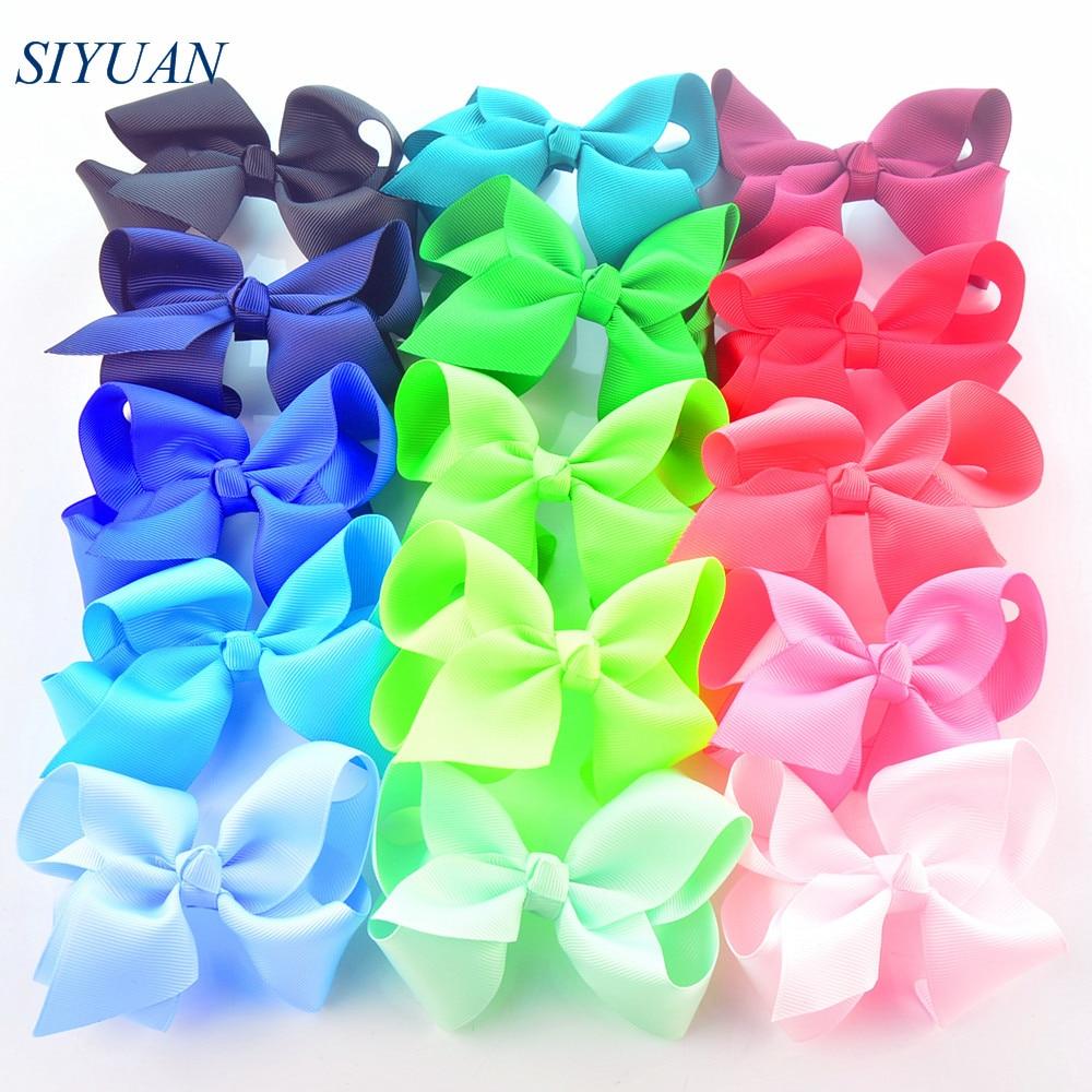 120pcs lot Popular 4 5 Inch Grosgrain Ribbon Bow Bowknot Newborn Child Headband Headwear Accessories On