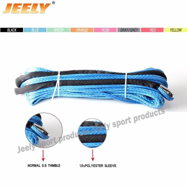 Free Shipping 10MM 40M 12 Strand UHMWPE Synthetic 4X4/ATV Winch Rope With Thimble Wholesaler