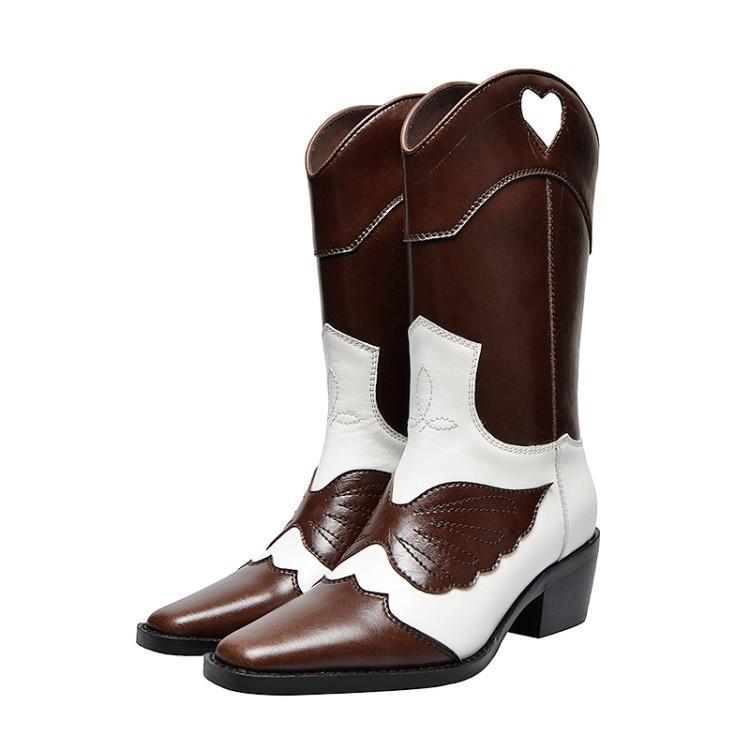 Bottes d'hiver de piste femmes Patchwork cuir véritable Botas Mujer Chic couture ailes Fretwork coeur sans lacet bottes occidentales chaussures pour femmes