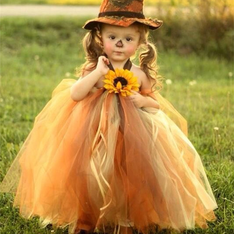 Scarecrow Halloween Dress Girl Pumpkin Tulle Sunflower Tutu Dress Children Carnival Halloween Party Costumes for Kids Ball Gowns