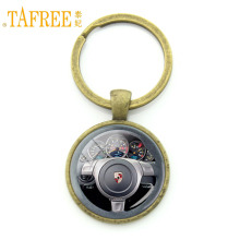 TAFREE Vintage luxury cars steering wheel key chain ring holder geeky perfect gift car jewelry drivers favorite keychain KC185
