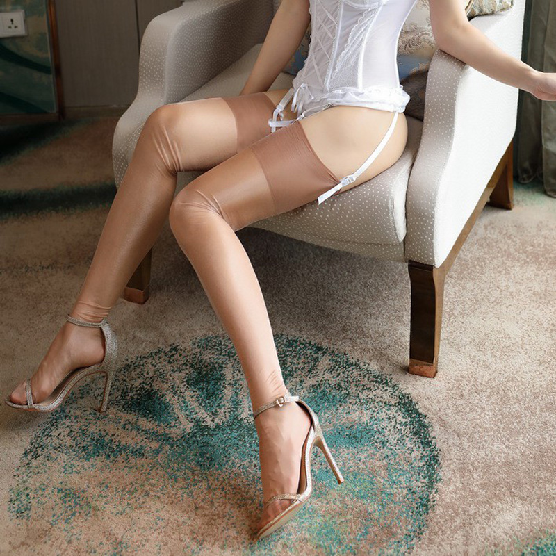 45284f855 Vintage Nylon Oil Shine Stockings Glitter Thigh Highs Retro No Stretch 10D  Ultrathin Detail Female Medias Stocking For Women-in Stockings from  Underwear ...