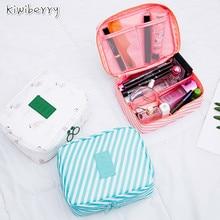 Cubo Quadrado sarja Malha Flor Pacote de Cosméticos de Viagem Portátil Organizador de Maquiagem Make Up Organizador Penteadeira Kutu Pendientes