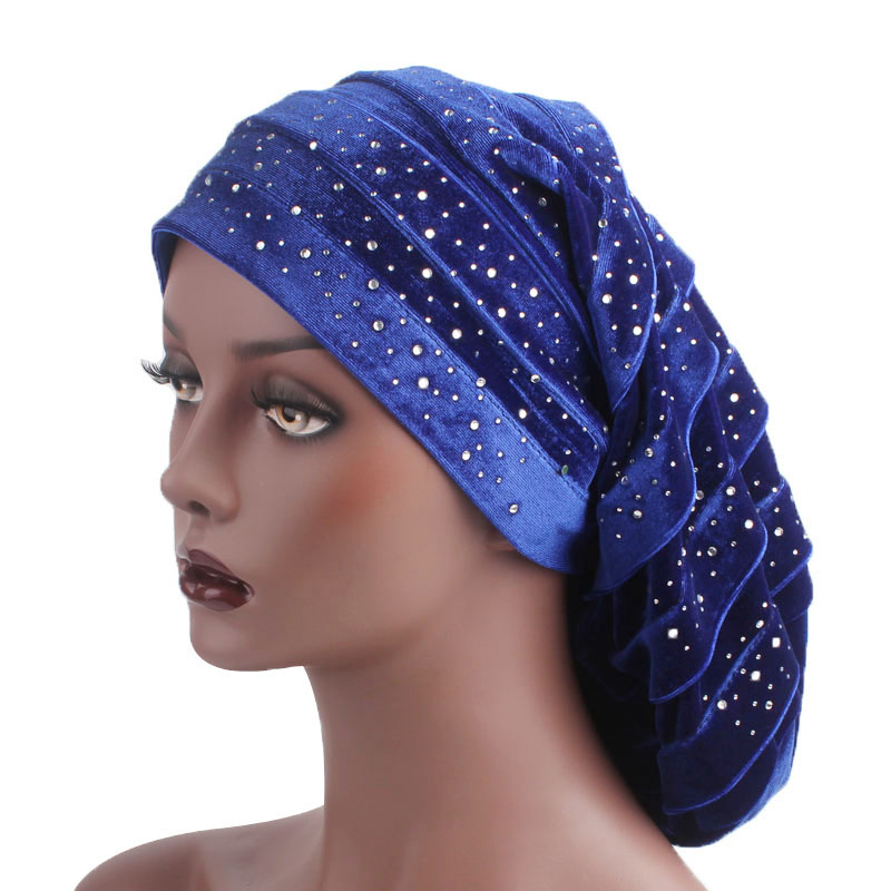 New Diamante Velvet Ruffle Turban Dreadlock Sleeping Cap Baggy Hat for Hair Loss Women Headwrap Slouch Caps   Headwear   Hijabs