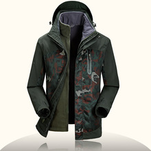 Camouflage 's Windbreakers Brand AFS JEEP 2 PCS Winter Jackets s Waterproof Windstopper Camo Fleece Liner 's Parka Overcoat