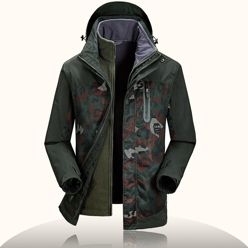 Camouflage 's Windbreakers Brand ZHAN DI JI PU 2 PCS Winter Jackets s Waterproof Windstopper Camo Fleece Liner 's Parka Overcoat
