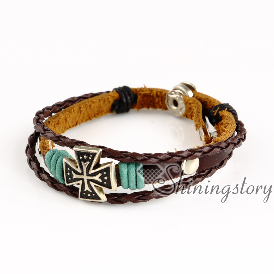 Malta Cross Whole Leather Bracelets