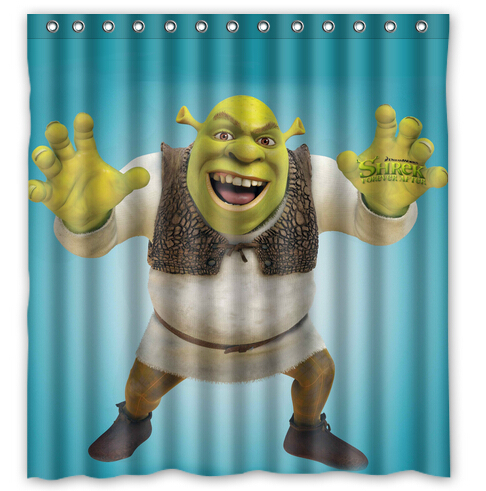 Custom Shrek Forever Printed Polyester Shower Curtain Home Decoration 66 Inch By 72