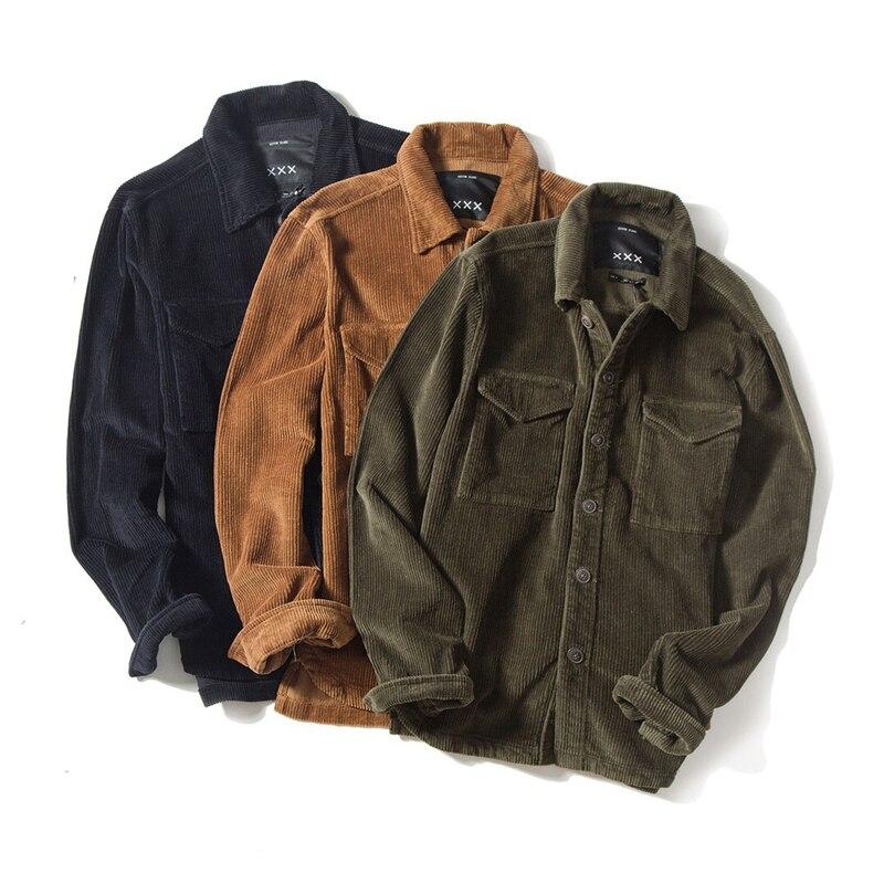 gran descuento e90ff 2cc94 € 35.72 50% de DESCUENTO 2018 Hiphop chaqueta hombres chaqueta de pana de  empalme japonés Harajuku Otoño Invierno chaqueta Vintage Punk abrigo de la  ...