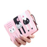 Women Girls Cute Short Standard Wallets PU Leather Cartoon Cat Purse For  Female Lady Small Pouch d31db3abd059e