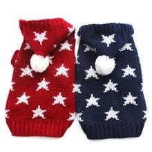 Свитер для собаки для кошки вязанная толстовка с капюшоном Джемпер со звездами дизайн питомца щенка куртка теплая одежда для собак и кошек