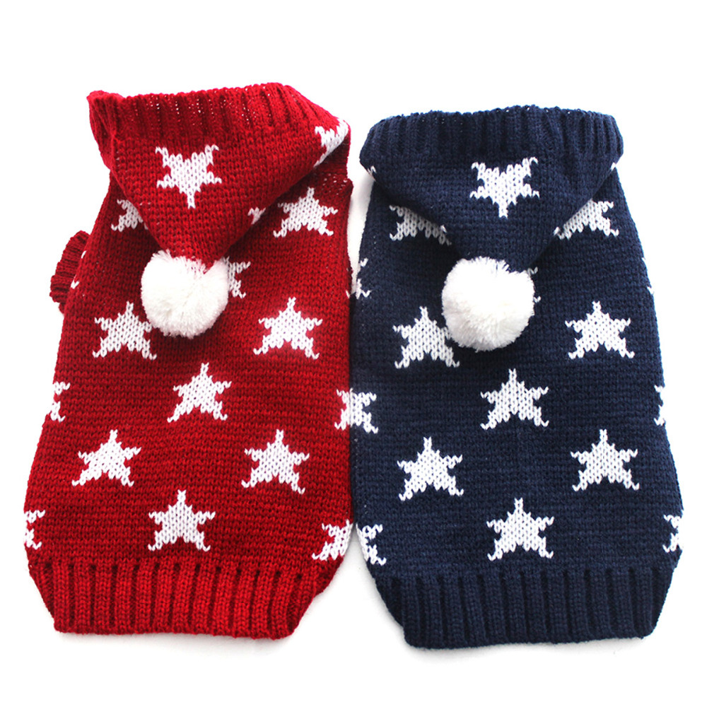 Cat Dog Winter Sweater KNIT Hoodie Sportwear Estrellas diseño Pet Puppy Coat Jacket Cálido Jumper Ropa 6 tamaños