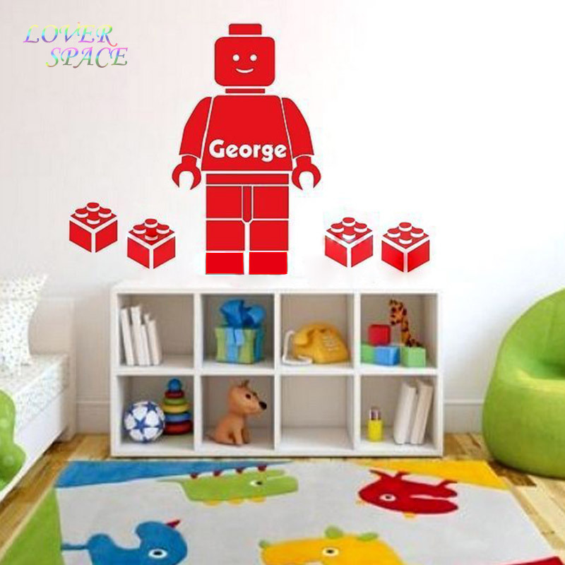 Cartoon Wall Decals 3D Lego Wall Sticker For Kids Room Personalized NAME  Bedroom Wall Art Home Decor You Choose Name And Color In Wall Stickers From  Home ...
