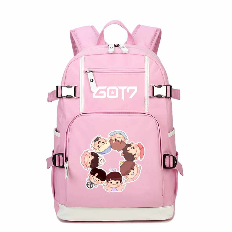 High Quality 2018 Hip-pop GOT7 Printing Backpack Canvas School Bags for Teenage Girls Women Pink Shoulder Bags Laptop Backpack new card captor sakura printing backpack kawaii women shoulder bags sakura laptop backpack canvas school bags for teenage girls