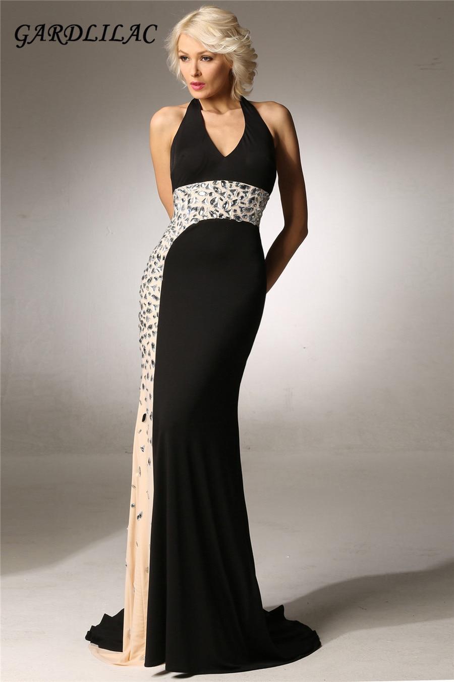 Gardlilas mousseline de soie licou noir robe de soirée longue avec perles sexy dos nu court train robes de soirée sirène robe de soirée formelle
