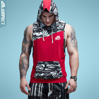 Aimpact Men Camo Tank Tops With Hoody Fitness Mens Bodybuilding Clothing Crossfit Workout Top Activewear Sleeveless